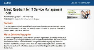 Gartner 2017 Magic Quadrant for IT Service Management Tools