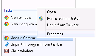 Select Chrome Properties