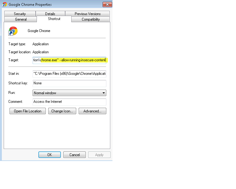 Edit Chrome Properties